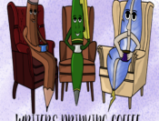 A pencil, a ball point pen, and a quill sitting in lounge chairs drinking coffee; Title: Writers Drinking Coffee
