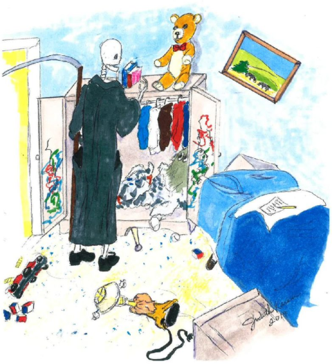 Cartoon of Death coaxing a ghost from a closet, by Judith Karen