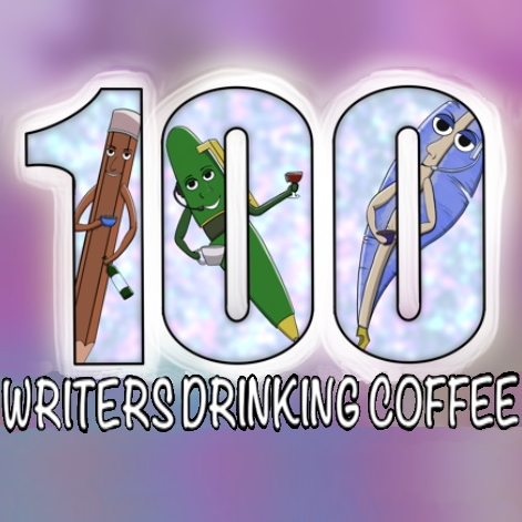 A pencil, a ball point pen, and a quill each holding a drink and floating in the number 100 with the title Writers Drinking Coffee below