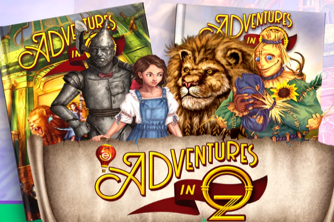 """Drawing of the Tin Man, Dorothy, the Cowardly Lion, and the Scarecrow standing in front of two books and behind a banner all titled """"5e Adventures in Oz"""""""